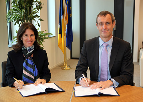 Europol's Director Rob Wainwright and the Executive Director of the WJC Olivia Swaak-Goldman