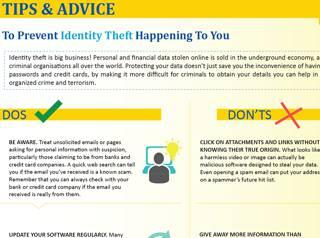 Tips & advice to prevent identity theft happening to you - Brochure cover